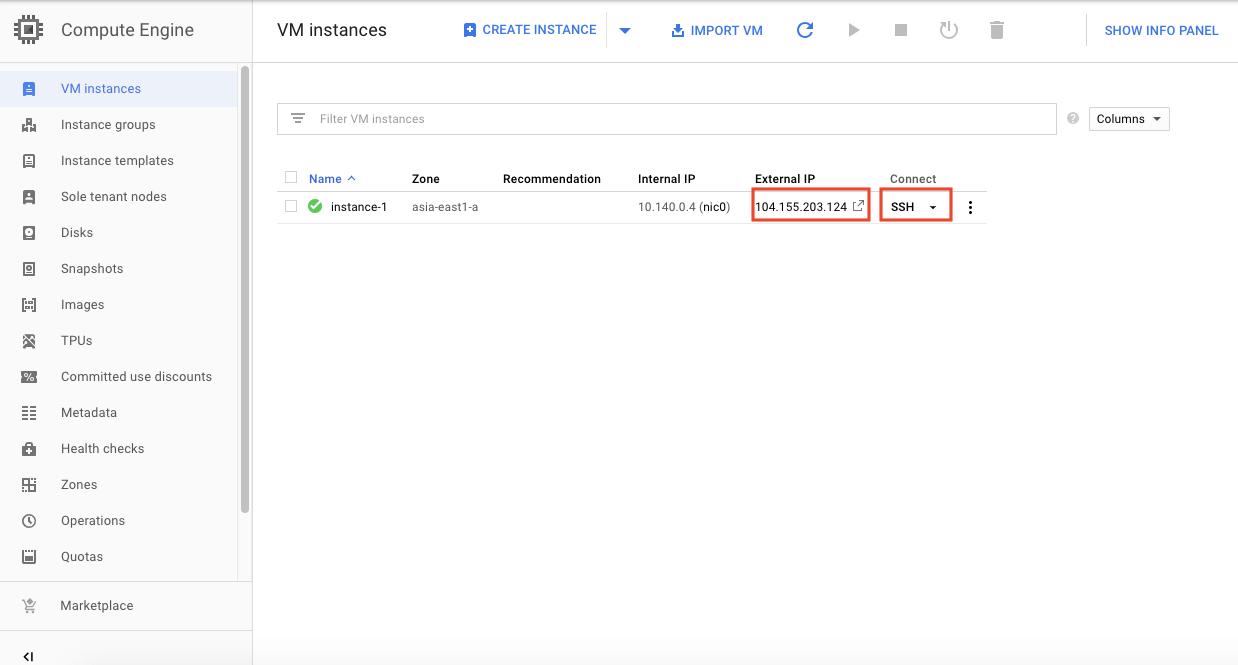 Google Cloud Platform 打開 SSH 視窗