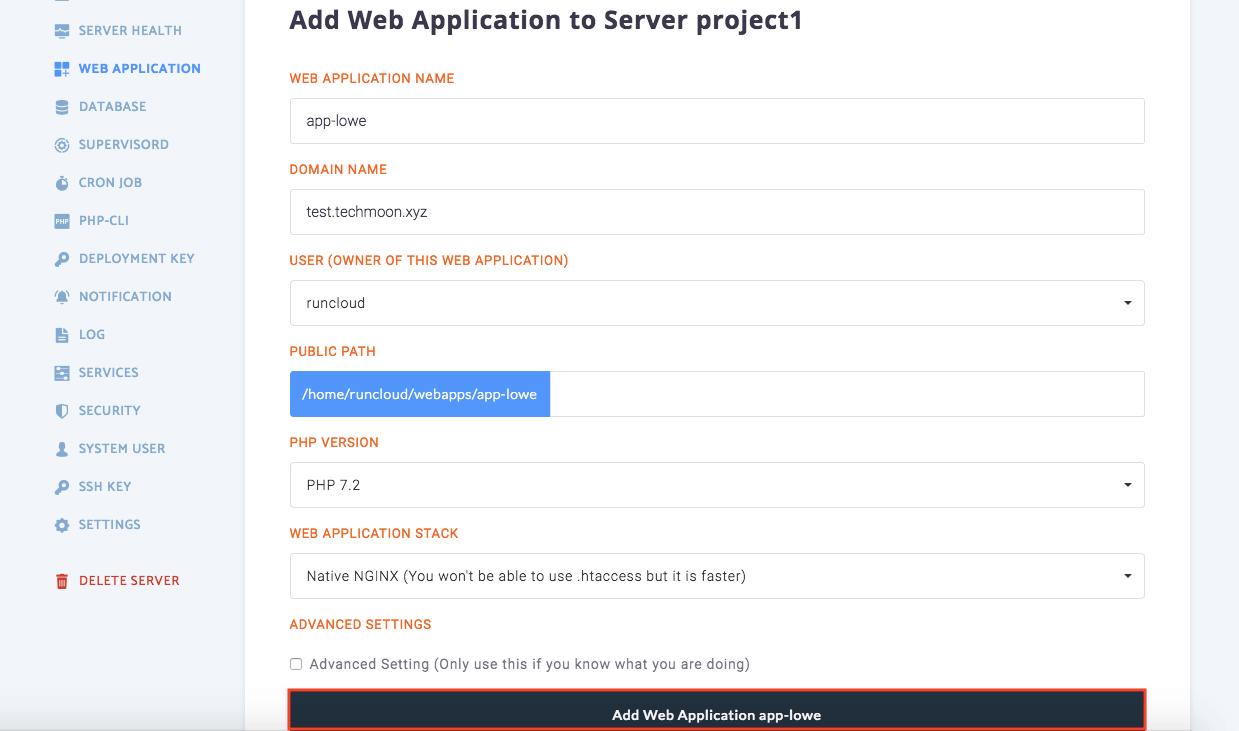 RunCloud 安裝 Web Application 設定