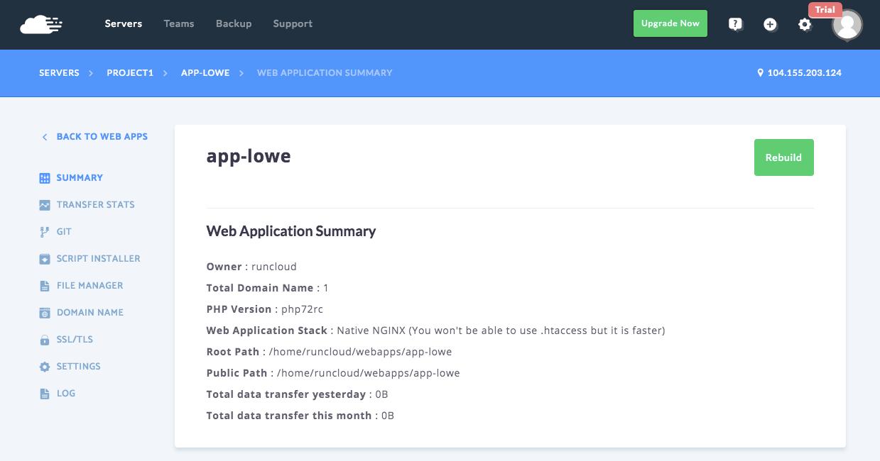 RunCloud Web Application 總覽