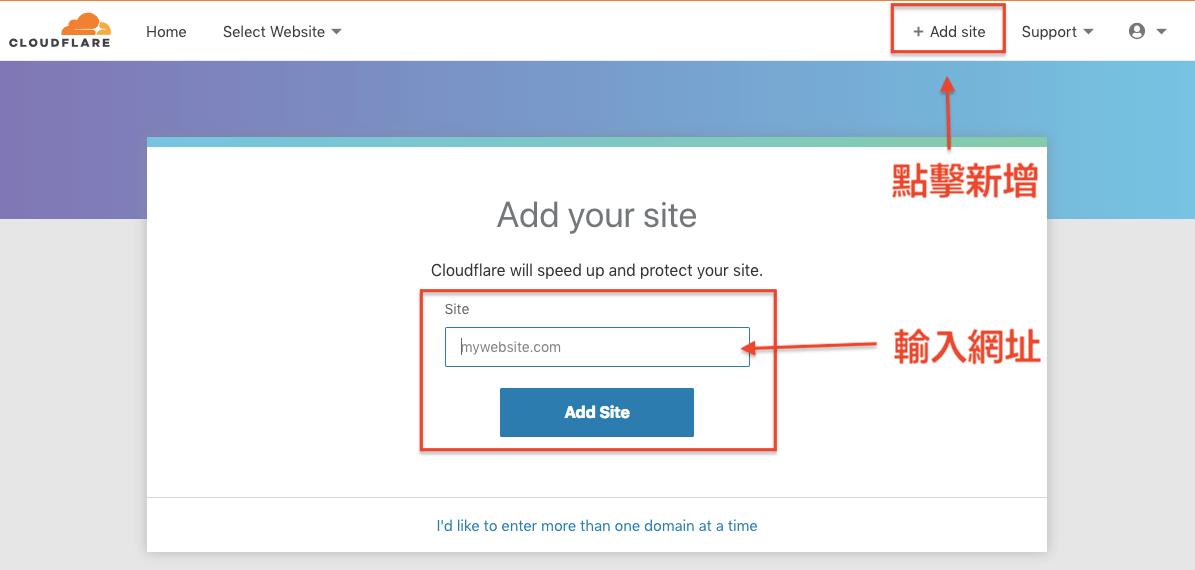 點擊右上角「add site」,接著輸入你的網址。