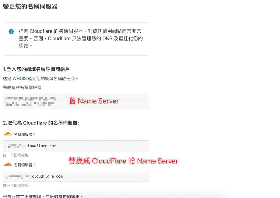 使用 CloudFlare 的名稱伺服器進行 Name Server IP 的替換