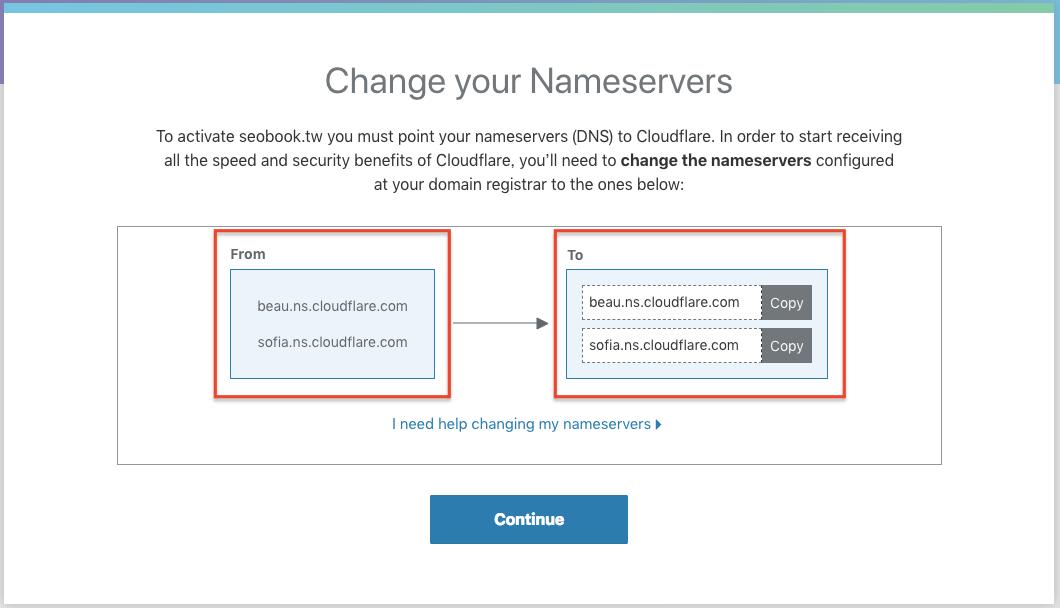 更改成cloudflare的nameserver