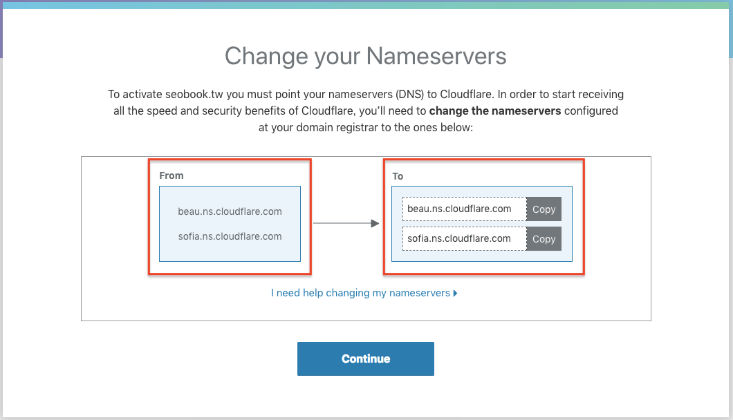 更改成 CloudFlare 的 NameServers
