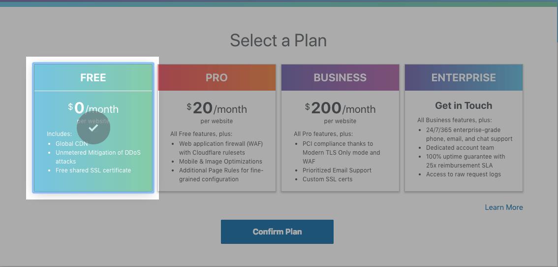 手動選擇 CloudFlare 免費計畫