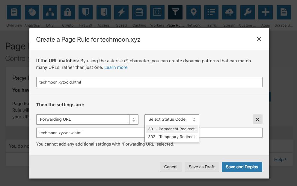透過 CloudFlare 的規則來建立 Forwarding URL,實現自動轉址。