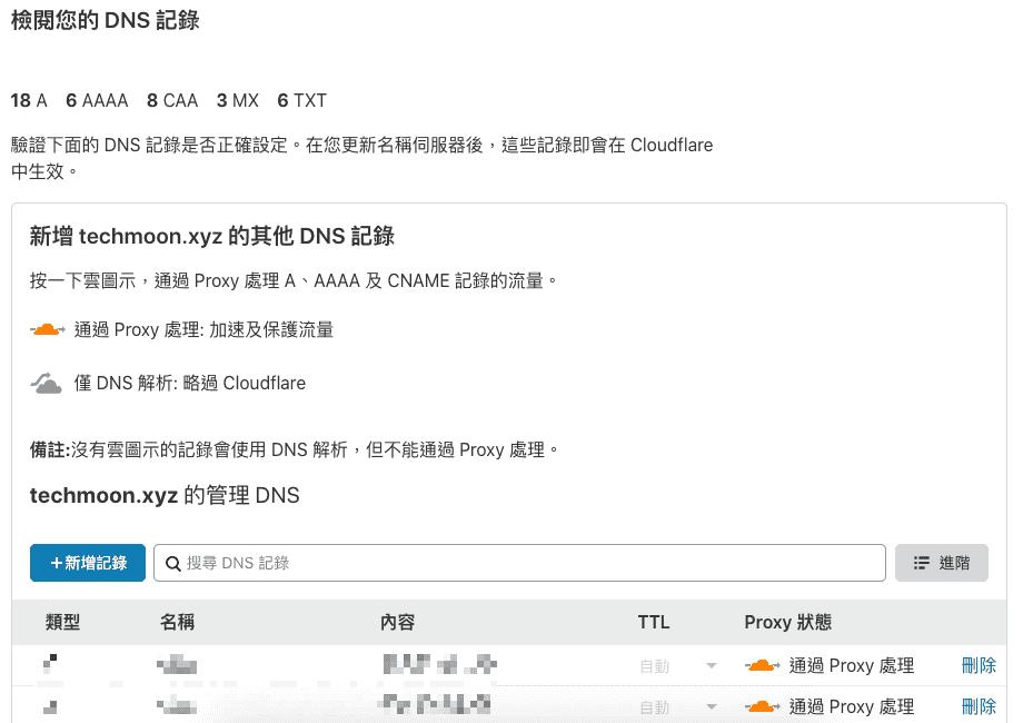 CloudFlare 會掃瞄網域 DNS 紀錄並自動匯入