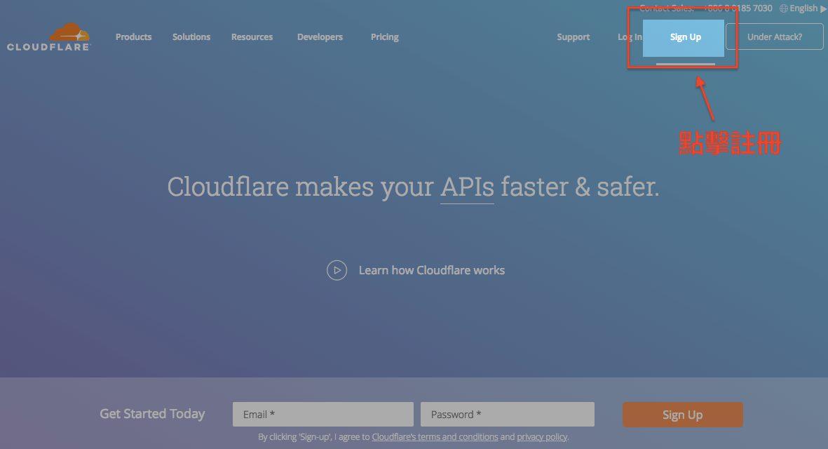 前往Cloudflare官網,點擊Signup註冊。