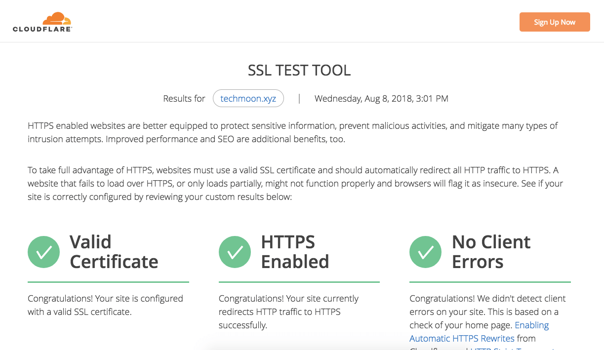 CloudFlare SSL Test 檢測結果畫面