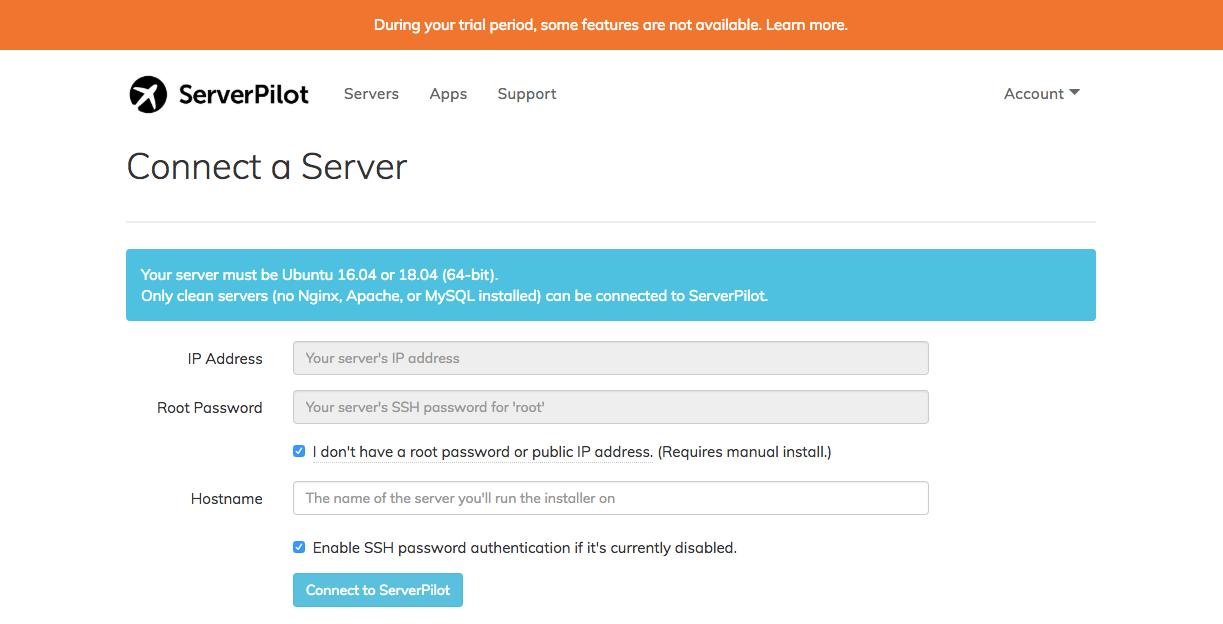 ServerPilot connect a server