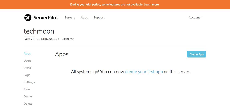 ServerPilot安裝完成畫面