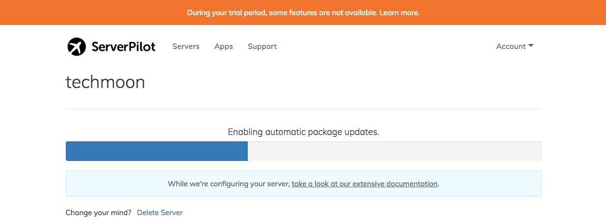 ServerPilot顯示目前安裝進度