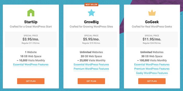 SiteGround WordPress 3 種方案內容與價格