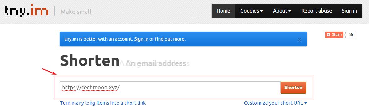Tny.im 輸入要縮短的網址或東西