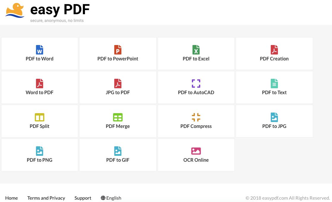 easyPDF 免費線上轉檔服務,無上傳大小、次數、數量的限制,整合 Google Drive 與 Dropbox 的超強雲端服務