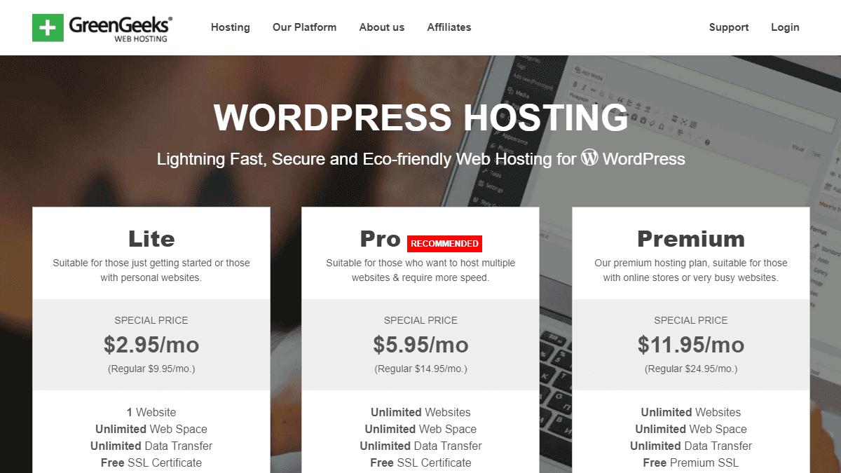 GreenGeeks 主機評價 - 獨家 70% OFF 優惠折扣,3 折優惠只要 $2.95 美元快速建立 WordPress 網站