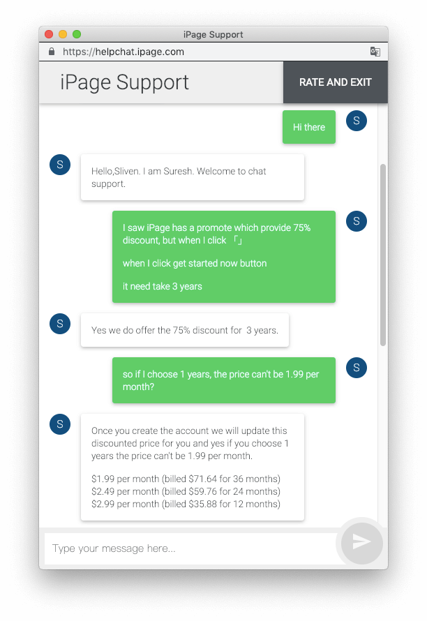 iPage 24 小時線上客服回覆速度非常快