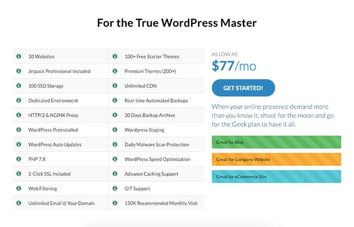 WPWebHost WordPress Geek 方案