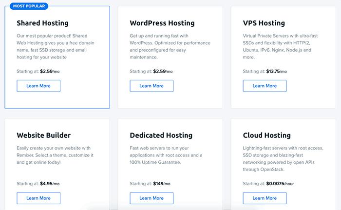 DreamHost 所有主機方案與價格
