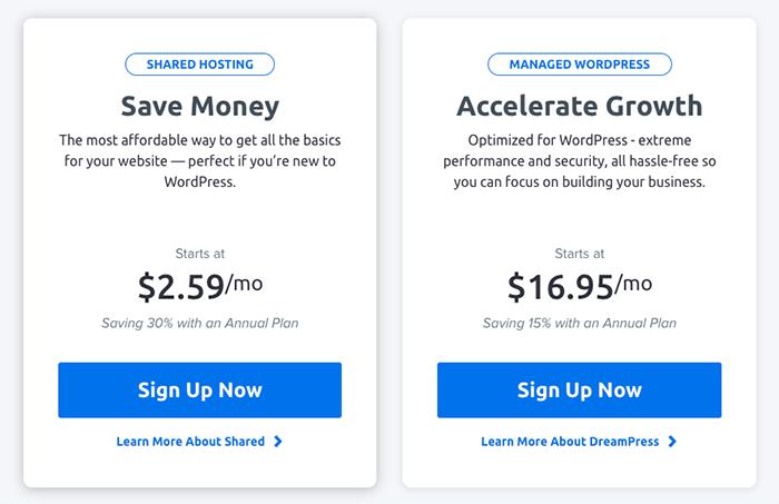 DreamHost WordPress 主機分為兩種 - Shared Hosting 與 Managed WordPress。