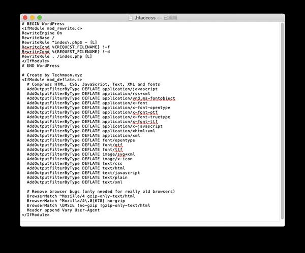 在 .htaccess 當中手動加入程式碼規則啟用 GZIP