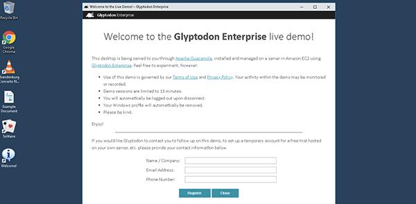 進入 Glyptodon Enterprise 遠端虛擬機畫面