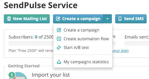 SendPulse 提供 RSS、A/B Test 自動測試功能