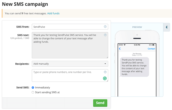 SendPulse SMS 簡訊寄送服務