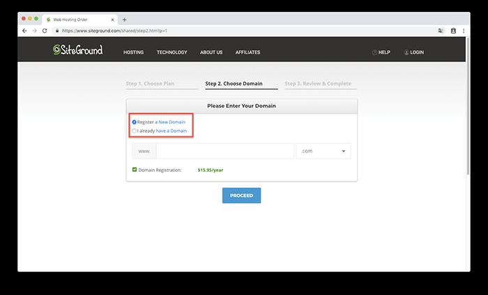 直接在 SiteGround 當中購買網域名稱