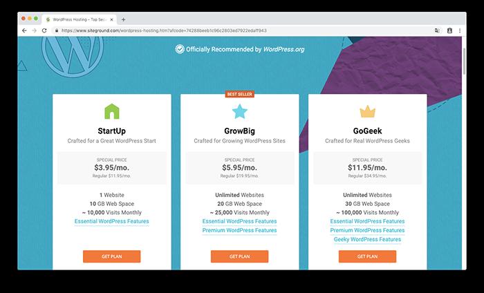 SiteGround  WordPress 主機提供三種方案選擇
