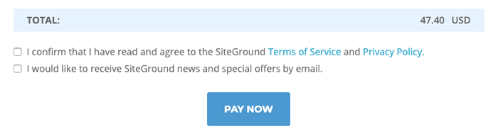 完成 SiteGround 主機購買