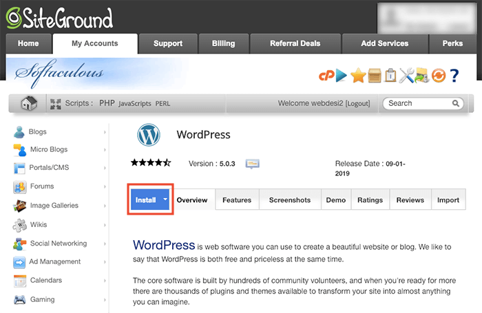 SiteGround 一鍵安裝 WordPress