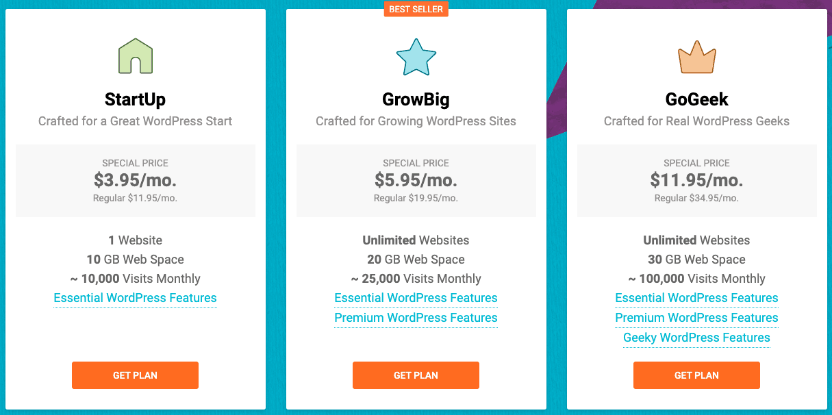 SiteGround 2019 最新優惠價格