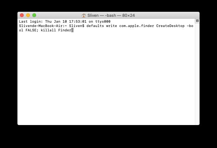 Terminal 輸入「暫時隱藏桌面檔案」程式碼