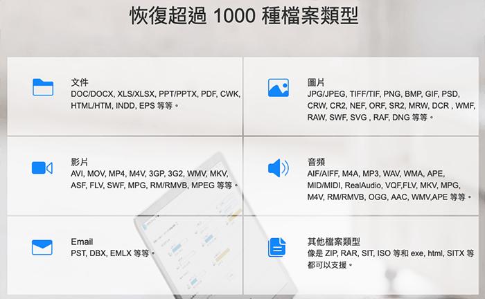 EaseUS Data Recovery Wizard 支援恢復檔案類型 超過 1000 種