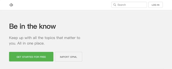 進入 Feedly 官網首頁,點選 GET STARTED FOR FREE 即可免費註冊使用