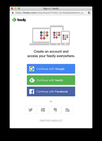 Feedly 可使用 Google、Feedly、Facebook 等方式進行註冊