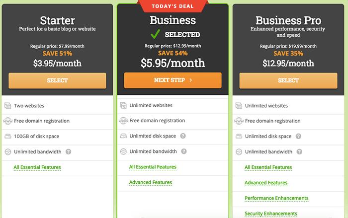 HostPapa 未使用註冊購買連結之原始價格