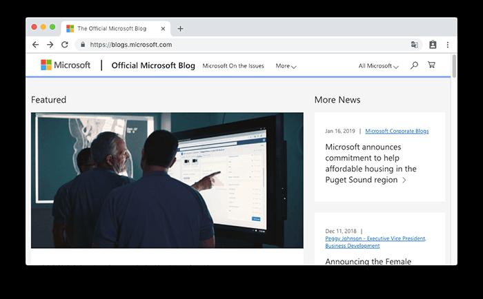 微軟 Microsoft 官方部落格的網站是使用 WordPress 所建立的