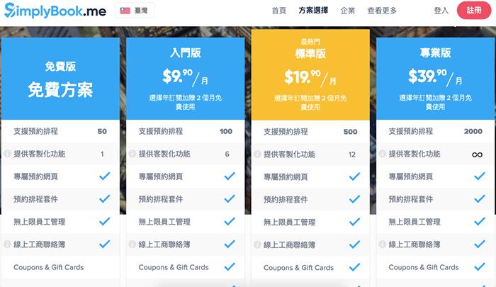 SimplyBook 所有方案價格