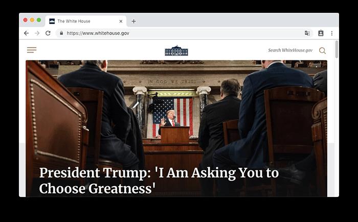 美國白宮 WhiteHouse 的網站是使用 WordPress 所建立的