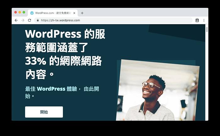 WordPress.com 是由官方團隊所建立的平台系統。WordPress 的服務範圍涵蓋了 33% 的網際網路內容。