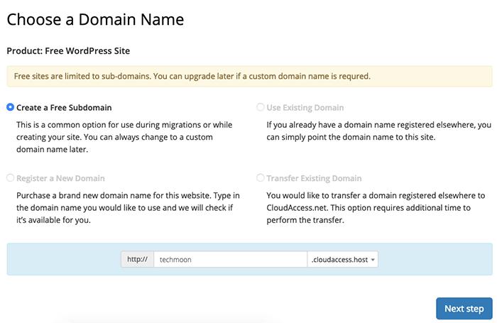 輸入 CloudAccess 提供給你的免費子網域名稱
