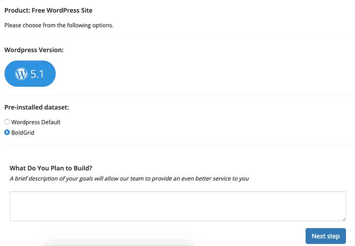 選擇 WordPress Default 安裝或是使用 BoldGrid 安裝 WordPress