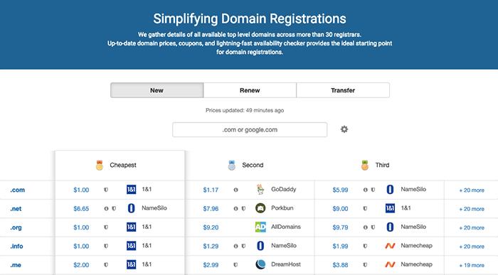 Domcomp 查詢最便宜的網域購買的域名註冊商
