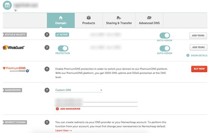 NameCheap 可以個別管理網域名稱,建議使用 CloudFlare 設定 DNS。