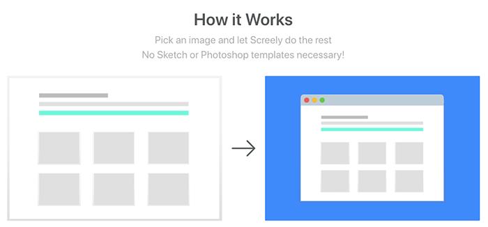Screely 能幫你將圖片快速轉成擁有瀏覽器開啟的效果