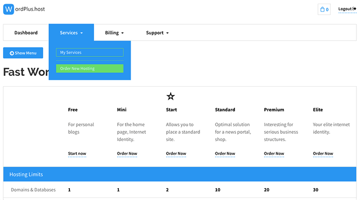 前往 Wordplus.host Order New Hosting 頁面購買 Free 免費虛擬主機方案