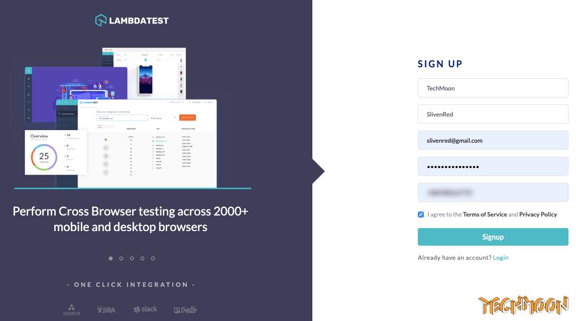 註冊 LambdaTest 免費帳號