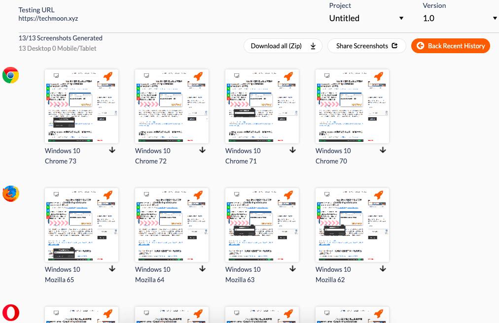 不同瀏覽器、版本當中所呈現的網站截圖畫面