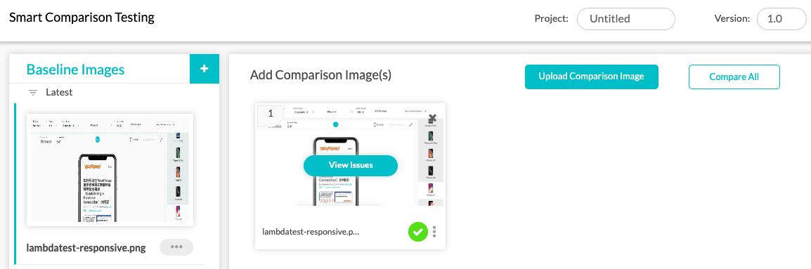 上傳基準畫面(Baseline Images)與比較畫面(Comparison Images)進行差異性分析